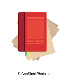 Paper notebook vector on white background. Lined page notepad blank sheet illustration object write