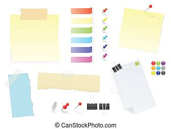 Paper Notes And Post-It Stickers Office Supply Set - Paper...