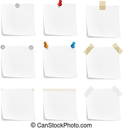 Paper notes and stickers. Illustration on white background