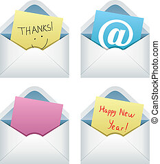 paper notes in envelopes - vector design of paper notes in...