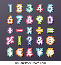 colorful paper alphabet numbers and symbols.