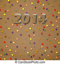 Paper numbers of new 2014 with confetti on an abstract background