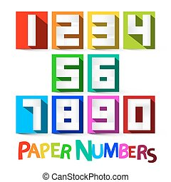 Paper Numbers Set. Colorful Paper Cut Vector Numbers Isolated on White Background.