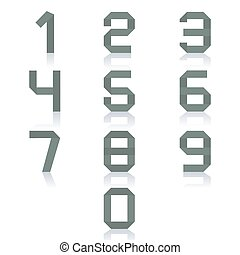 Paper numbers, vector illustration.