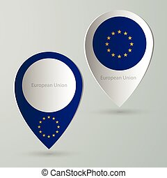paper of map marker for maps european union