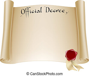 A background design element of an antique historical paper certificate scroll document or decree with red wax seal.