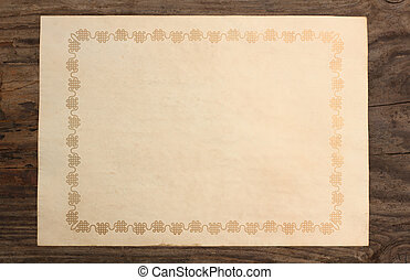 paper old blank boarder frame wooden background