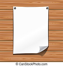 Paper on a wooden wall