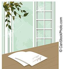 Paper on desk near window