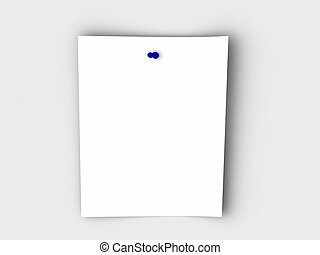 paper on white background with blue pin