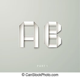 Paper Origami alphabet A B with shadows