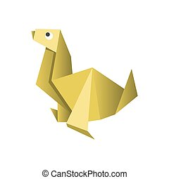 Paper origami dog isolated on white vector picture
