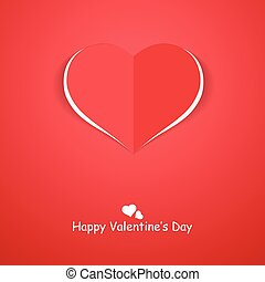 Paper origami heart. Happy valentines day background.