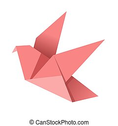 Paper origami pink bird isolated on white vector flat illustration.