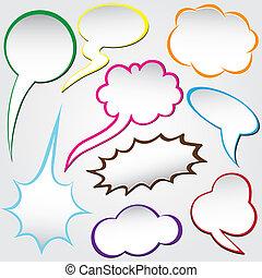 Paper origami speech bubble .Dialog cloud. Vector...