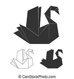 Paper origami vector swan on white background. Black swan logo set