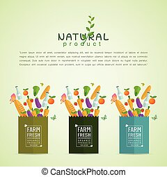 Paper package with fresh healthy produce. Organic products...