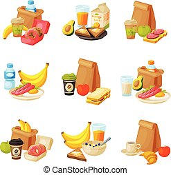 Paper Packaging with Healthy Breakfast Set, School Kids Lunch Bags Vector Illustration