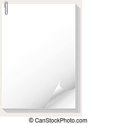 paper pad - Blank paper pad and paper clip
