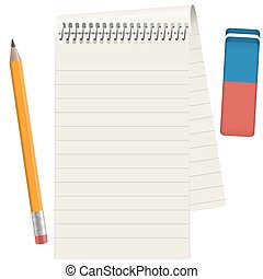 Paper pad with pencil and eraser - gray paper pad with...