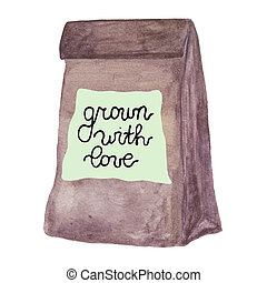 Paper pag with locally grown label. Watercolor lunch bag
