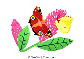 paper peacock butterfly and brimstone butterfly on summer...