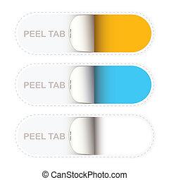 Paper peel tabs