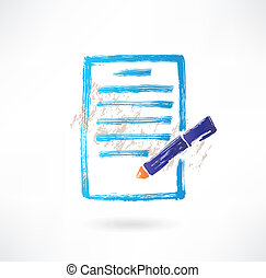 paper pen grunge icon