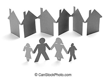 paper people and house shape cut connection chain
