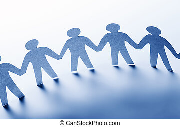 Paper people standing together hand in hand. Team, society, business concept