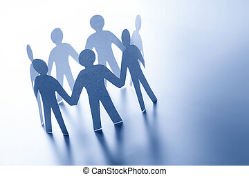 Paper people standing together hand in hand. Team, glabal business connection concept