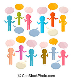 Paper People with Speech Bubbles Vector Illustration