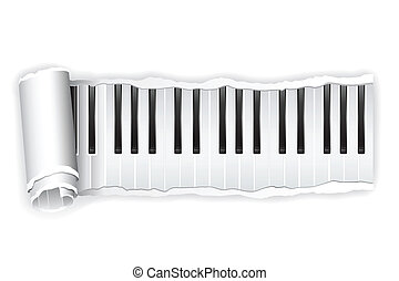 Paper Piano Key - illustration of torn paper piano keypad...