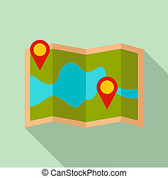 Paper pin map route icon, flat style