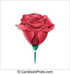 Paper pink rose on a white background. Greeting card
