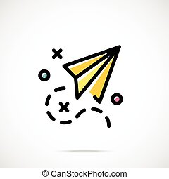 Paper plane and checkmarks icon