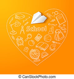Paper plane and school doodle vector background