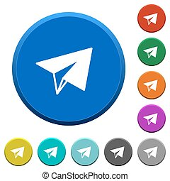 Paper plane beveled buttons - Paper plane round color...