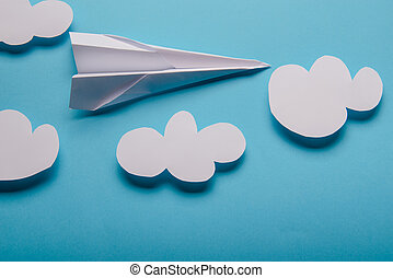 Paper plane, blue background
