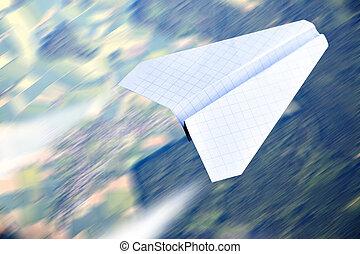 Paper plane flying