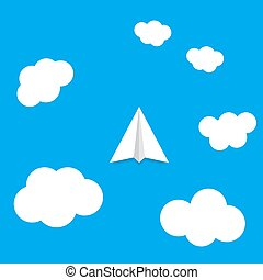 Paper plane flying in the clouds.
