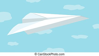 Paper plane flying over the sky