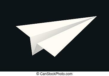 handmade paper plane on black