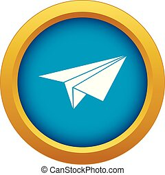 Paper plane icon blue vector isolated