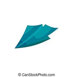Paper plane icon, cartoon style