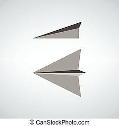 paper plane icon two views