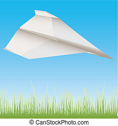Paper plane in the air illustration