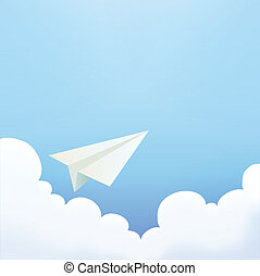 Paper Plane in The Sky Vector File EPS10