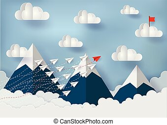 paper plane is competing with the destination through the mountains to the sky, with red flags on the clouds. Financial business idea are competing for success and corporate goal. Failure to start up.