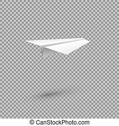 Paper plane isolated on transparent background. Vector design element.